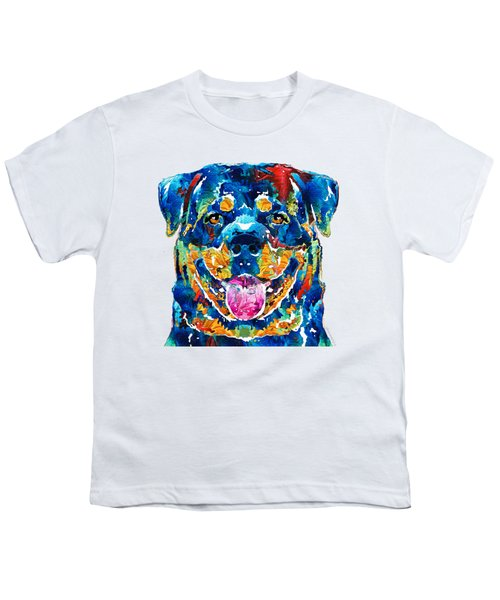 Colorful Rottie Art - Rottweiler By Sharon Cummings Youth T-Shirt by Sharon Cummings