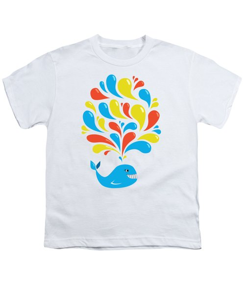 Colorful Swirls Happy Cartoon Whale Youth T-Shirt by Boriana Giormova