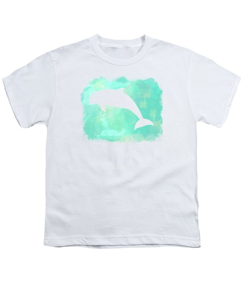 Colorful Watercolor Dolphin Sea Life Coastal Art Youth T-Shirt
