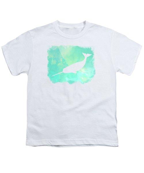 Colorful Watercolor Narwhal Sea Life Coastal Art Youth T-Shirt