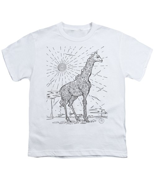 Coloring Page With Beautiful Giraffe Drawing By Megan Duncanson Youth T-Shirt by Megan Duncanson