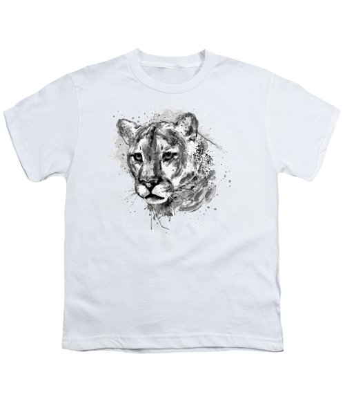 Cougar Head Black And White Youth T-Shirt