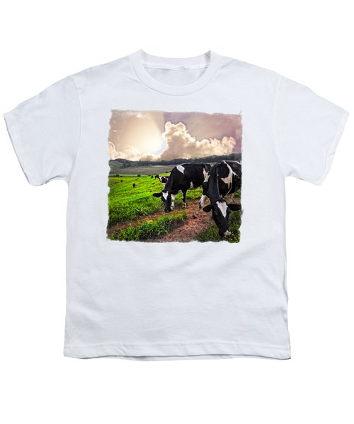 Cows At Sunset Bordered Youth T-Shirt by Debra and Dave Vanderlaan