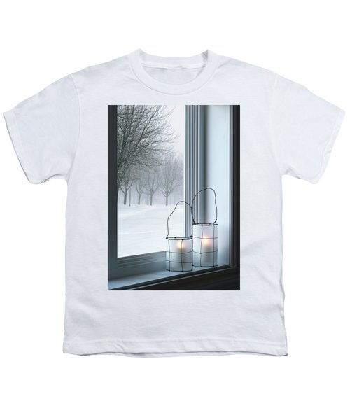Cozy Lanterns And Winter Landscape Seen Through The Window Youth T-Shirt
