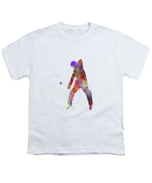 Cricket Player Batsman Silhouette 02 Youth T-Shirt by Pablo Romero