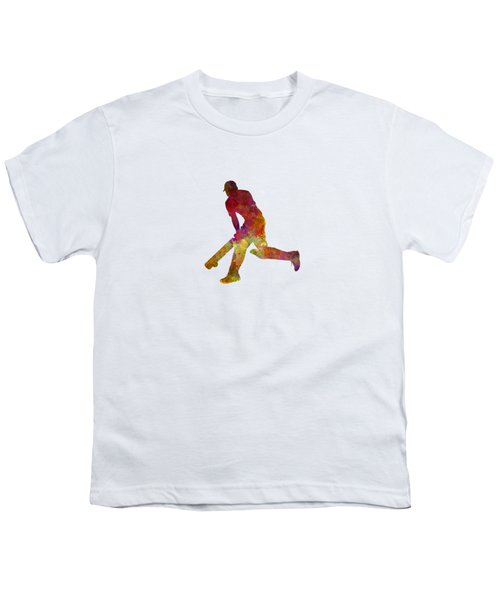 Cricket Player Batsman Silhouette 03 Youth T-Shirt by Pablo Romero