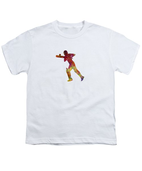 Cricket Player Batsman Silhouette 06 Youth T-Shirt by Pablo Romero