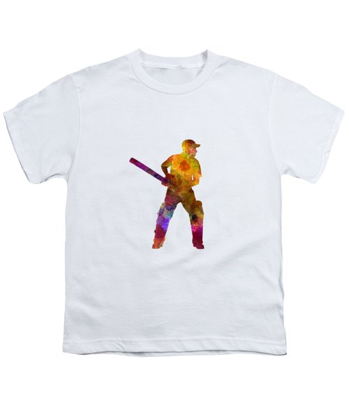 Cricket Player Batsman Silhouette 07 Youth T-Shirt by Pablo Romero