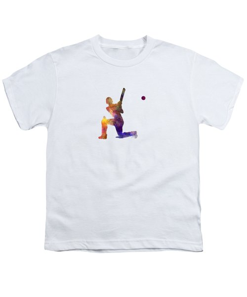 Cricket Player Batsman Silhouette 08 Youth T-Shirt by Pablo Romero