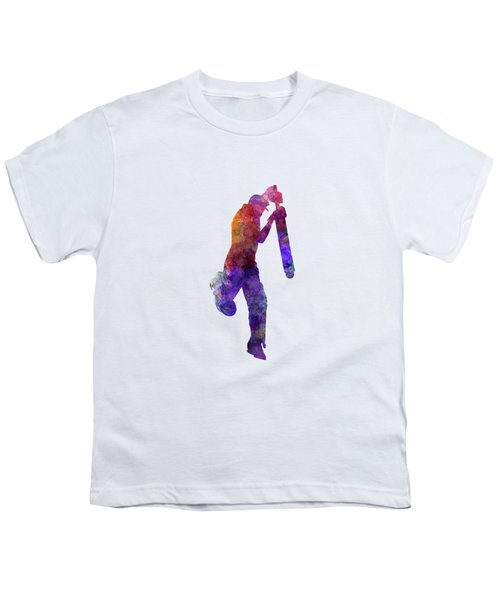 Cricket Player Batsman Silhouette 09 Youth T-Shirt