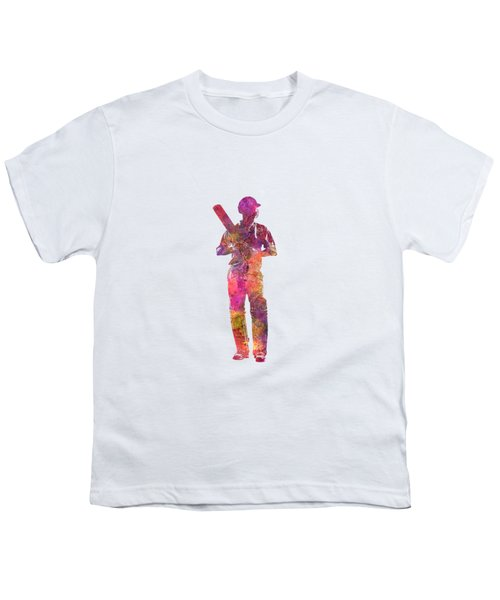 Cricket Player Batsman Silhouette 10 Youth T-Shirt
