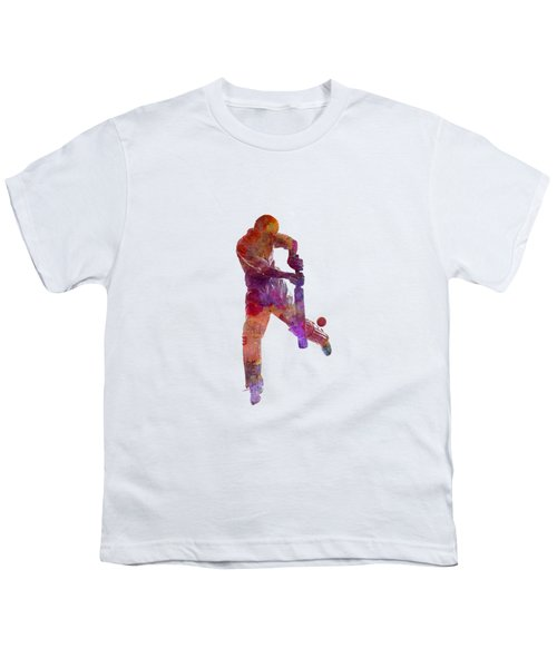 Cricket Player Batsman Silhoutte Youth T-Shirt