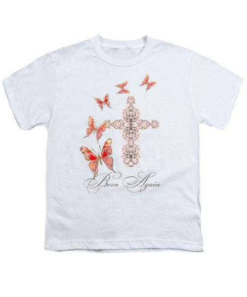 Cross Born Again Christian Inspirational Butterfly Butterflies Youth T-Shirt