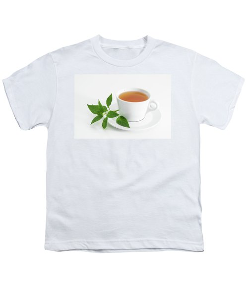 Cup Of Tea With Fresh Mint Youth T-Shirt by GoodMood Art