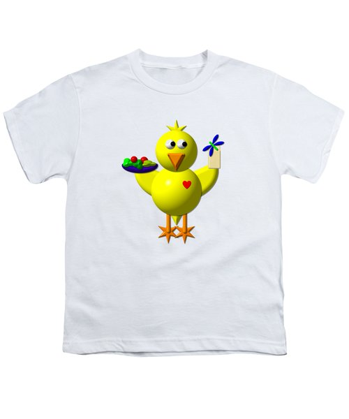Cute Canary With Salad And Milk Youth T-Shirt by Rose Santuci-Sofranko