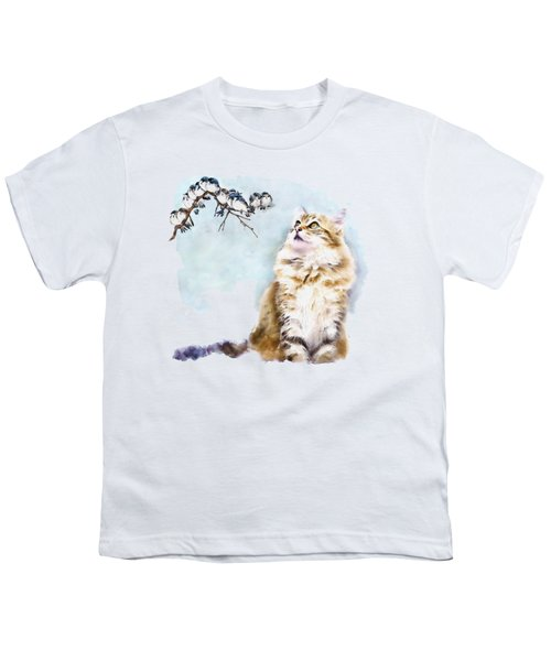 Cute Cat On The Lurk Youth T-Shirt