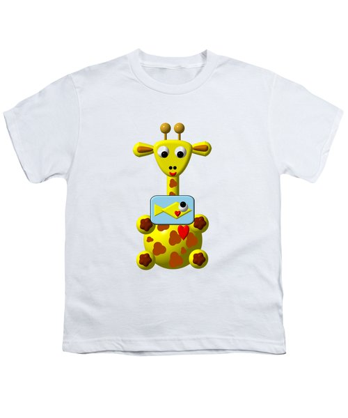 Cute Giraffe With Goldfish Youth T-Shirt by Rose Santuci-Sofranko