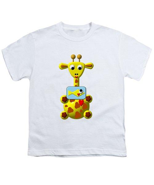 Cute Giraffe With Goldfish Youth T-Shirt
