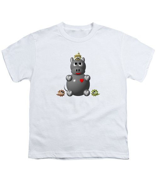 Cute Hippo With Hamsters Youth T-Shirt by Rose Santuci-Sofranko