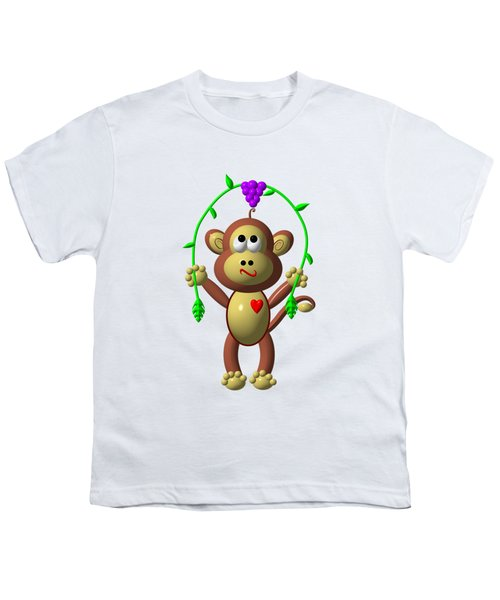 Cute Monkey Jumping Rope Youth T-Shirt by Rose Santuci-Sofranko