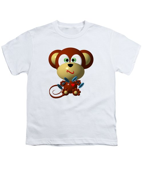 Cute Monkey Lifting Weights Youth T-Shirt
