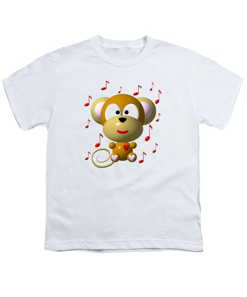 Cute Musical Monkey Youth T-Shirt by Rose Santuci-Sofranko