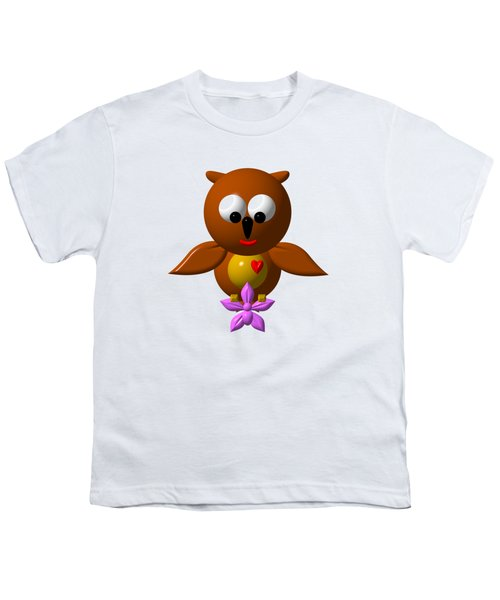 Cute Owl With Orchid Youth T-Shirt