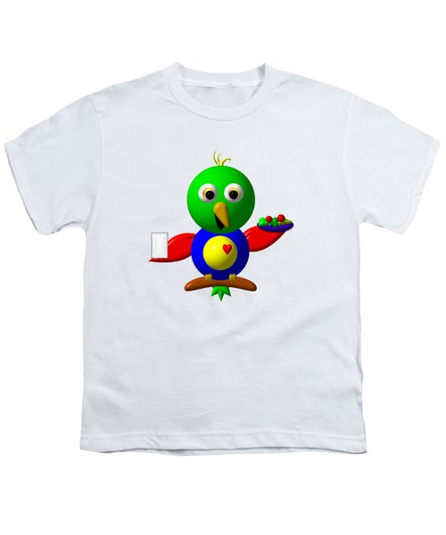 Cute Parrot With Healthy Salad And Milk Youth T-Shirt by Rose Santuci-Sofranko