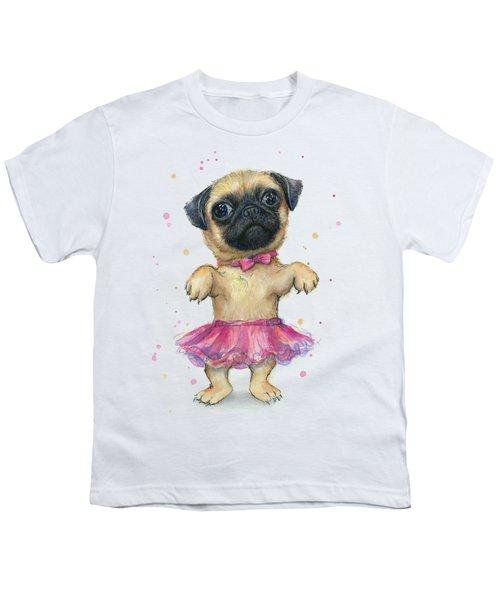 Cute Pug Puppy Youth T-Shirt by Olga Shvartsur