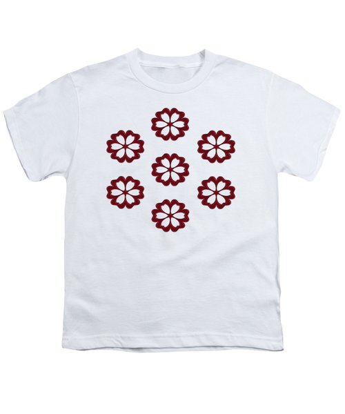 Cyber Flower Red Youth T-Shirt