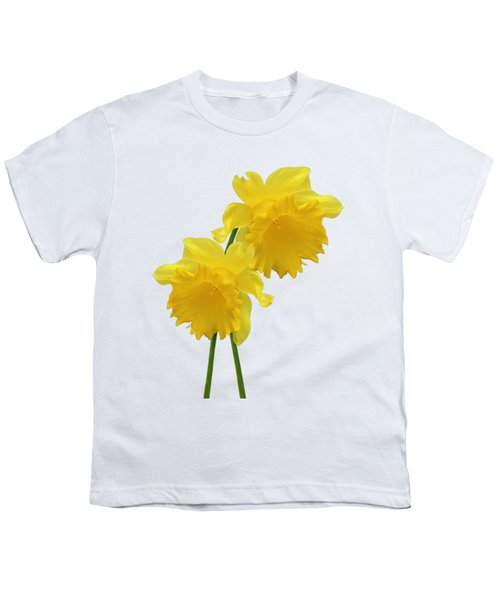 Daffodils On White Youth T-Shirt