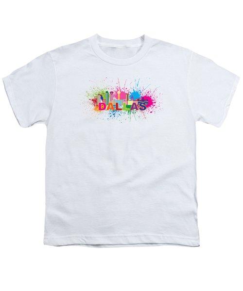 Dallas Skyline Paint Splatter Text Illustration Youth T-Shirt by Jit Lim