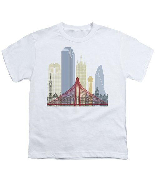 Dallas Skyline Poster Youth T-Shirt by Pablo Romero