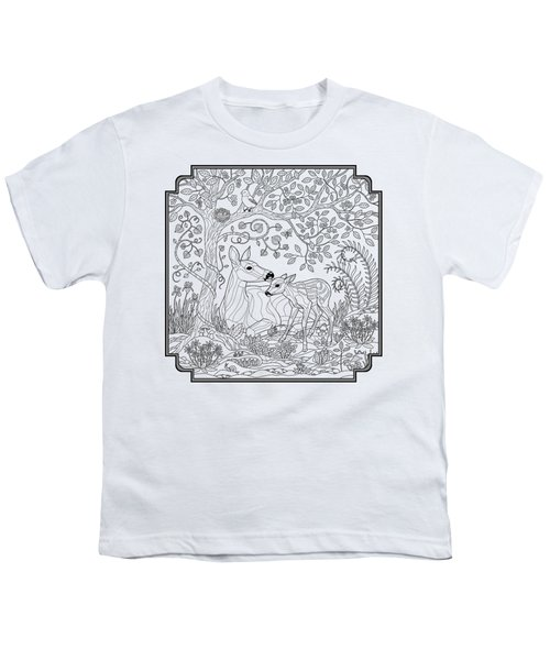 Deer Fantasy Forest Coloring Page Youth T-Shirt by Crista Forest