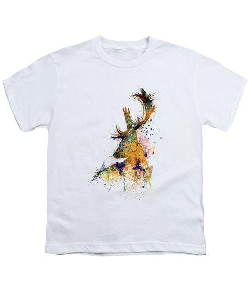 Deer Head Watercolor Silhouette Youth T-Shirt