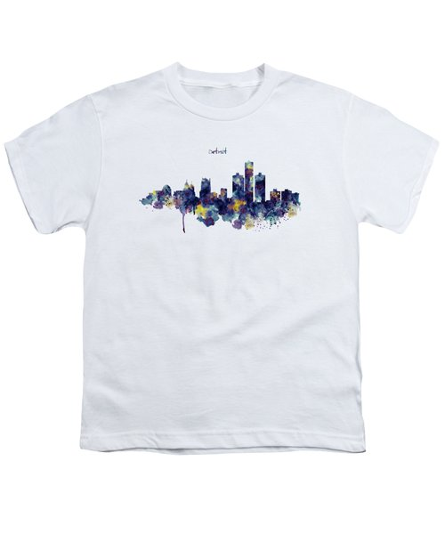 Detroit Skyline Silhouette Youth T-Shirt by Marian Voicu