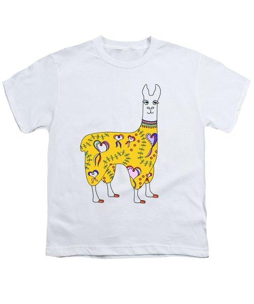 Difficult Llama Yellow Youth T-Shirt