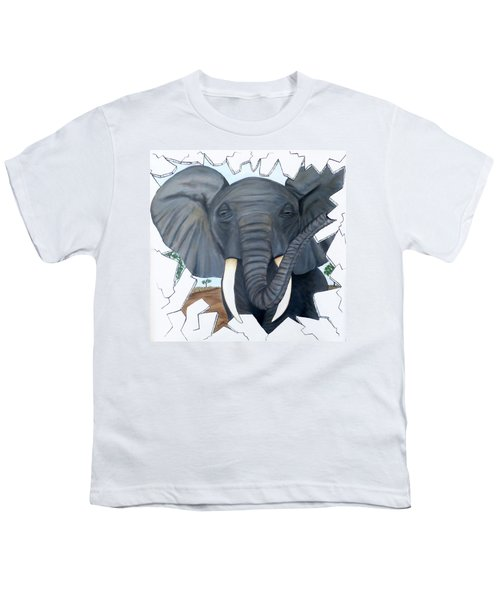 Eavesdropping Elephant Youth T-Shirt by Teresa Wing