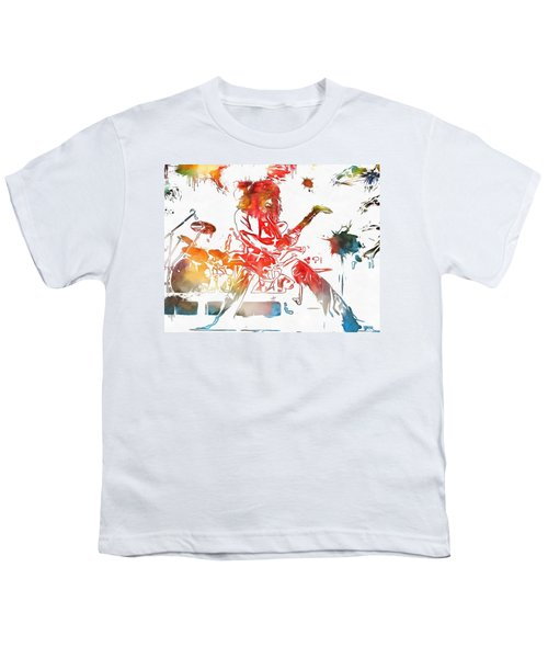 Eddie Van Halen Paint Splatter Youth T-Shirt by Dan Sproul