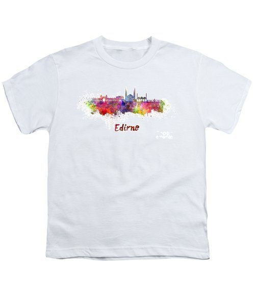 Edirne Skyline In Watercolor Youth T-Shirt by Pablo Romero