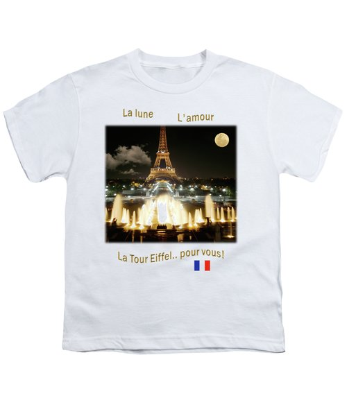 Eiffel Tower At Night Youth T-Shirt