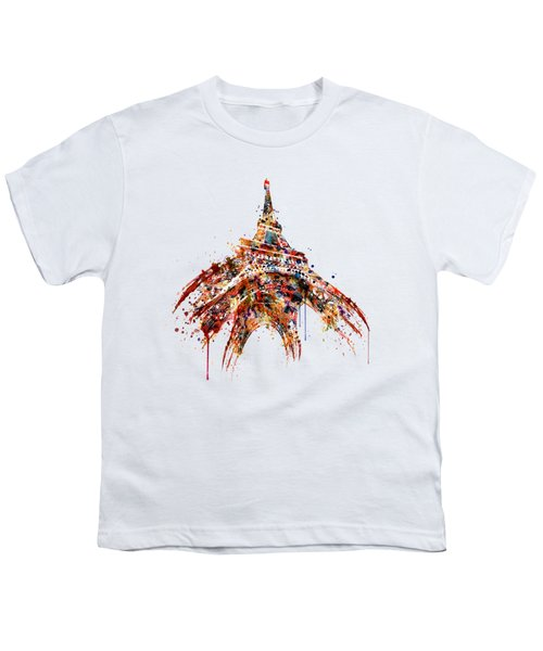 Eiffel Tower Watercolor Youth T-Shirt by Marian Voicu