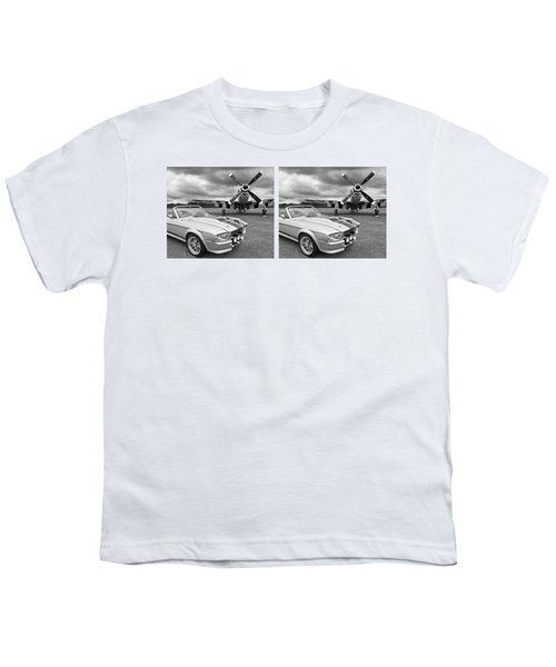 Eleanor Mustang With P51 Black And White Youth T-Shirt by Gill Billington
