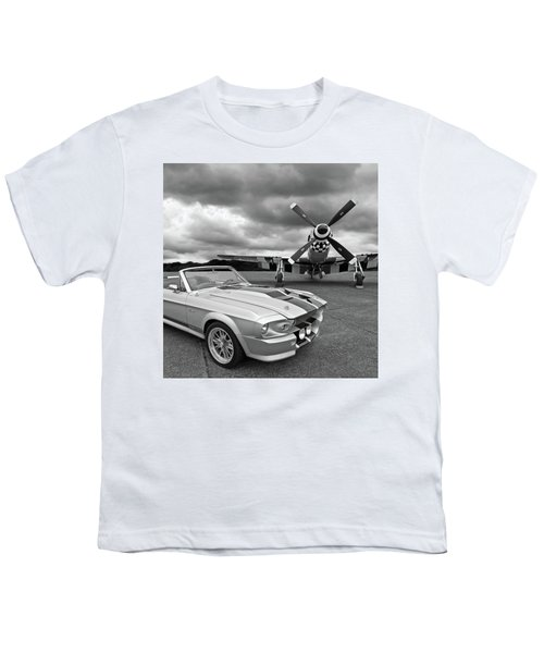 Eleanor Mustang With P51 Black And White Youth T-Shirt