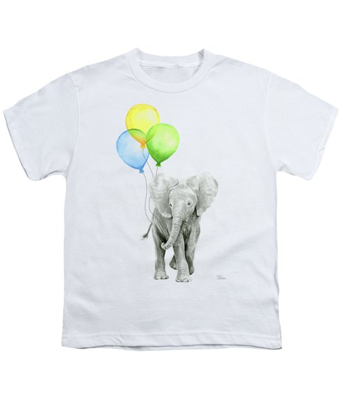 Elephant Watercolor Baby Animal Nursery Art Youth T-Shirt