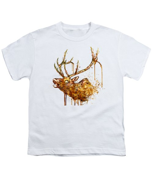 Elk In Watercolor Youth T-Shirt by Marian Voicu