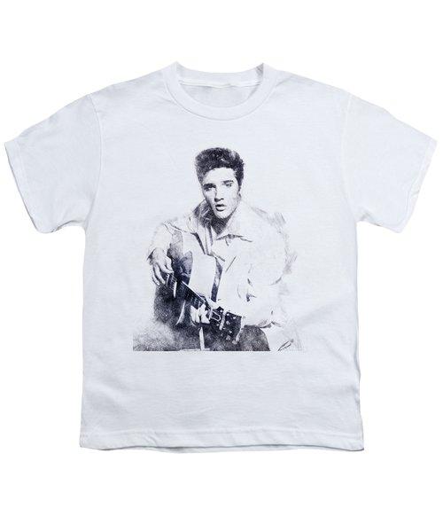 Elvis Presley Portrait 01 Youth T-Shirt by Pablo Romero