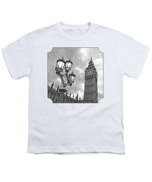 Evening Light At Big Ben In Black And White Youth T-Shirt by Gill Billington