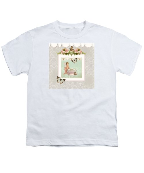 Fairy Teacups - Flutterbye Butterflies And English Rose Damask Youth T-Shirt by Audrey Jeanne Roberts