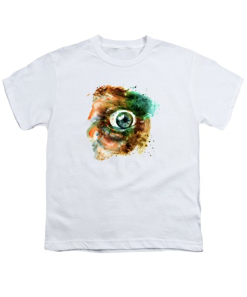 Fear Eye Watercolor Youth T-Shirt by Marian Voicu